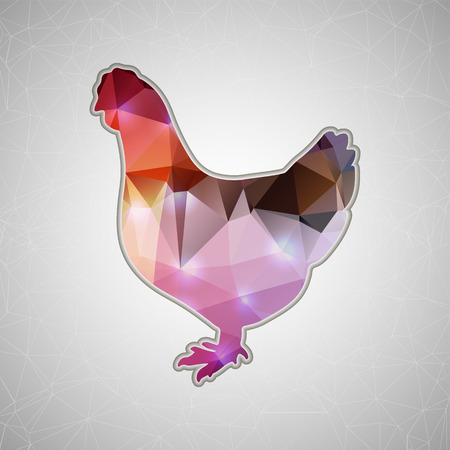 shape triangle: Creative concept vector chicken icon isolated on background