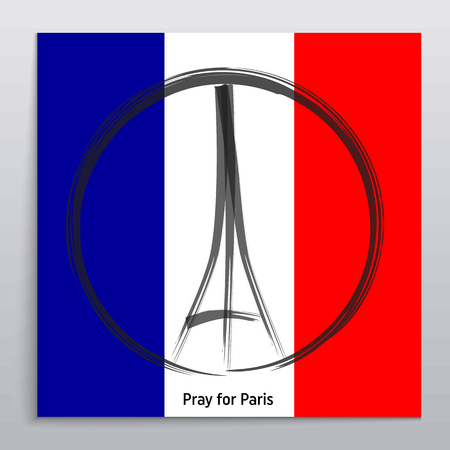 killed: Pray for Paris, 13 November 2015. Abstract creative concept vector image. For art illustration template design, infographic and social media.