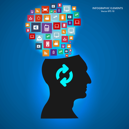 siluet: Abstract creative concept vector siluet head of icons. For web and mobile applications isolated on background, illustration template design, Business infographic and social media. Illustration