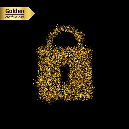 security lock: Gold glitter vector icon of padlock isolated on background. Art creative concept illustration for web, glow light confetti, bright sequins, sparkle tinsel, abstract bling, shimmer dust, foil.