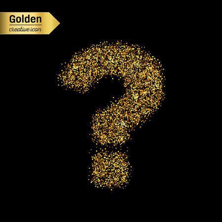 interrogation point: Gold glitter vector icon of question mark isolated on background. Art creative concept illustration for web, glow light confetti, bright sequins, sparkle tinsel, abstract bling, shimmer dust, foil. Illustration