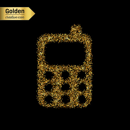 palmtop: Gold glitter vector icon of mobile phone isolated on background. Art creative concept illustration for web, glow light confetti, bright sequins, sparkle tinsel, abstract bling, shimmer dust, foil.