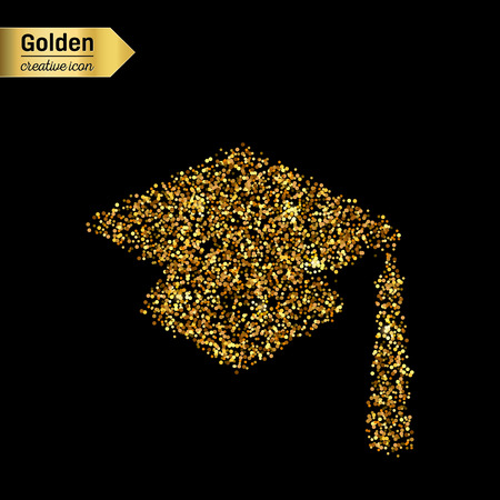 Gold glitter vector icon of square academic cap isolated on background. Art creative concept illustration for web, glow light confetti, bright sequins, sparkle tinsel, abstract bling, shimmer dust.