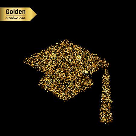 Scintillio dell'oro Icona vettore di tappo quadrato accademico isolato su sfondo. Art concetto creativo illustrazione per il web, bagliore di luce confetti, paillettes luminose, scintilla orpello, bling astratto, polveri shimmer.