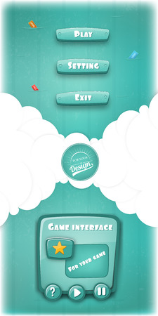 games: Abstract Creative concept vector Interface game design, resource bar and resource icons for games. Funny cartoon design ui game control panel including text and buttons such as exit, play, settings.