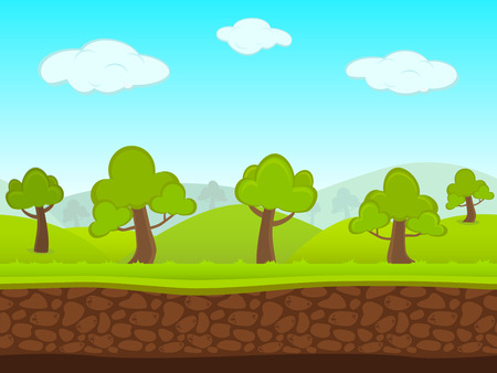 the animated film: Abstract Creative concept vector summer seamless landscape. Art cartoon unending background with grass, trees, forest, blue sky layers, grounds, cloud, mountains for your game, animated film scene. Illustration