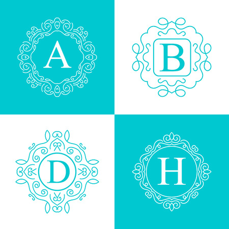 Abstract creative concept vector   of retro monogram isolated on background. Art illustration template design for restaurnat, cafe, hotel, real estate, wedding and spa elegant cute fine emblem.