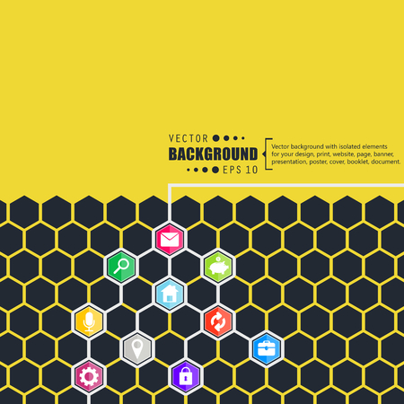 Abstract creative concept vector hexagon network with icon isolated on background for web, mobile App. Art illustration template design, seo business infographic, website, person profile. Ilustração