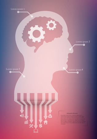 siluet: Abstract creative concept vector head siluet with gears. For web and mobile application isolated on background, illustration template design, Business infographic and social media. Illustration