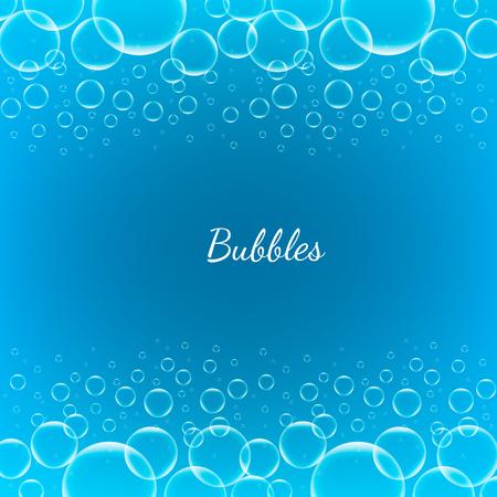 jabon liquido: Concepto creativo vector burbujas transparentes brillantes abstractos para aplicaciones web y móviles aislados sobre fondo azul, diseño de la plantilla aqua arte ilustración, infografía de negocios y medios de comunicación social.