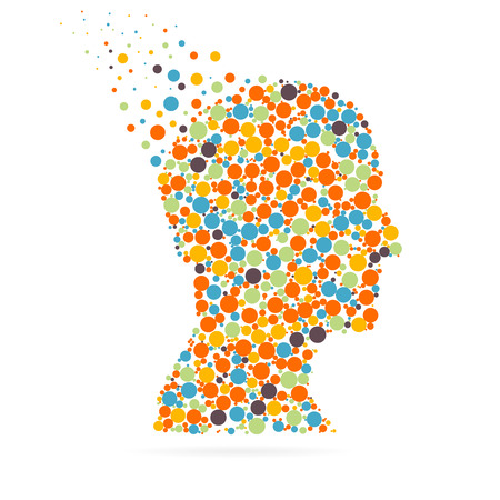 웹 및 흰색 배경에 고립 된 모바일 응용 프로그램에 대 한 추상 창의적인 개념 벡터 실루엣 머리. 벡터 일러스트 레이 션, 광고 소재 템플릿 디자인, 비즈니스 소프트웨어 및 소셜 미디어. 벡터 (일러스트)