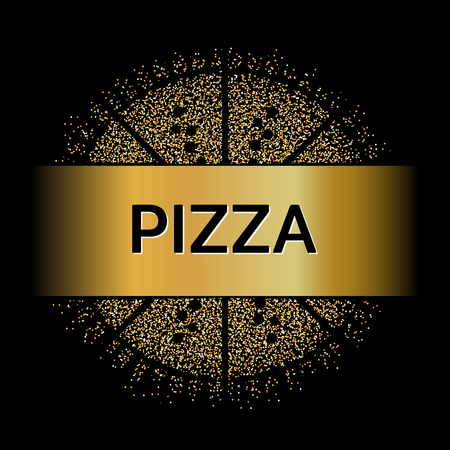deliciously: Abstract Creative concept vector design layout with text - pizza. For web and mobile icon isolated on background, art template, retro elements, , identity, labels, badge, ink, tag, old card.