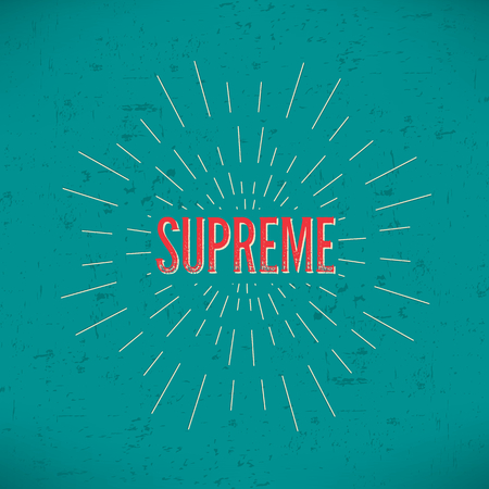 supreme: Abstract Creative concept vector design layout with text - supreme. For web and mobile icon isolated on background, art template, retro elements, logos, identity, labels, badge, ink, tag, old card. Stock Photo