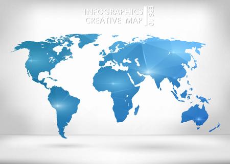 Zusammenfassung kreative Konzept Vektor-Karte der Welt für Web und Mobile-Anwendungen auf Hintergrund. Vektor-Illustration, kreative Template-Design, Business-Software und Social Media, Origami.