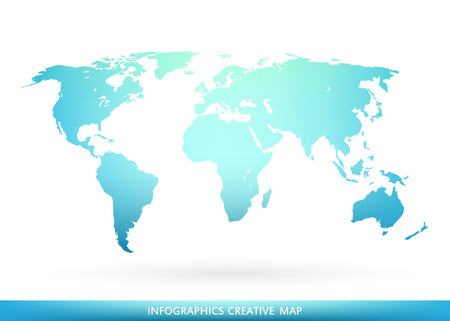 Abstract creative concept vector map of the world for Web and Mobile Applications isolated on background. Vector illustration, creative template design, Business software and social media, origami. Illustration