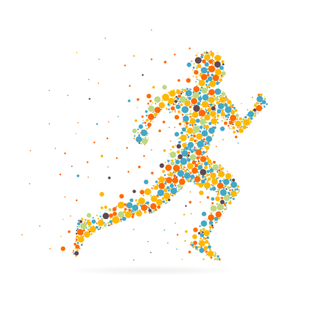 competitive sport: Abstract Creative concept vector image of running man for Web and Mobile Applications isolated on background, art illustration template design, business infographic and social media, icon, symbol.
