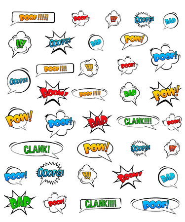 Abstract Creative concept vector pop art style set of comic text template with clouds beams and isolated dots pattern on background. For Web and Mobile Applications, illustration template design. Vectores