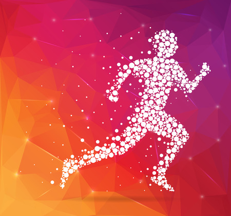 marathon runner: Abstract Creative concept vector image of running man for Web and Mobile Applications isolated on background, art illustration template design, business infographic and social media, icon, symbol.