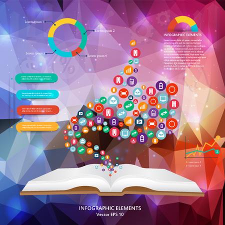 tecnología informatica: Creativo abstracto del vector del concepto siluet manos de los iconos. Para aplicaciones web y móviles aislados en el fondo, ilustración, diseño, plantilla, infografía de negocios y medios de comunicación social.