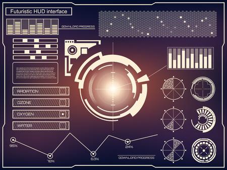 Résumé avenir, interface utilisateur tactile concept de vecteur futuriste bleue virtuelle graphique HUD. Pour le web, site, applications mobiles isolé sur fond noir, la techno, la conception en ligne, les entreprises, gui, ui Vecteurs