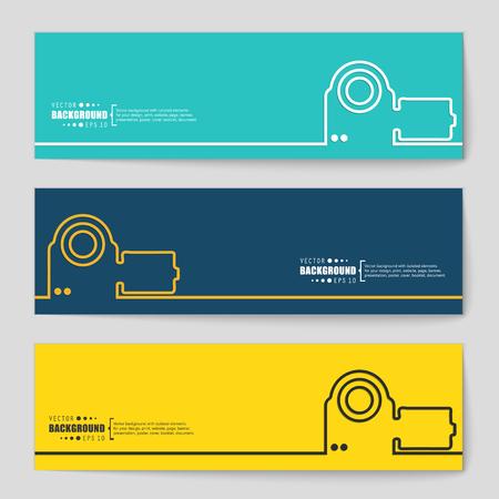 camara de cine: Concepto del fondo del vector creativo abstracto de web y aplicaciones móviles, diseño de plantilla de ilustración, infografía negocio, página, folleto, bandera, presentación, cartel, portada, folleto, documento. Vectores