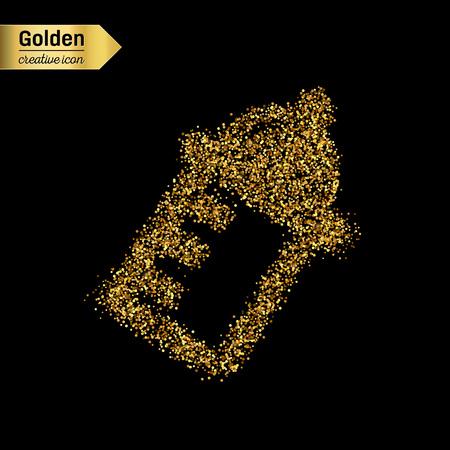 nursing bottle: Gold glitter vector icon of nursing bottle isolated on background. Art creative concept illustration for web, glow light confetti, bright sequins, sparkle tinsel, abstract bling, shimmer dust, foil. Illustration