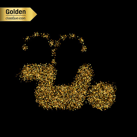 urination: Gold glitter vector icon of pee isolated on background. Art creative concept illustration for web, glow light confetti, bright sequins, sparkle tinsel, abstract bling, shimmer dust, foil.