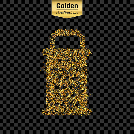 shredding: Gold glitter vector icon of grater isolated on background. Art creative concept illustration for web, glow light confetti, bright sequins, sparkle tinsel, abstract bling, shimmer dust, foil.