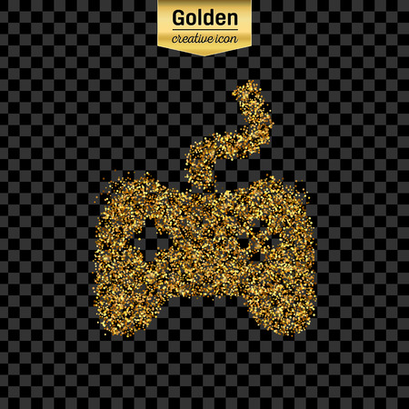 sillouette: Gold glitter vector icon of controller isolated on background. Art creative concept illustration for web, glow light confetti, bright sequins, sparkle tinsel, abstract bling, shimmer dust, foil.