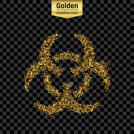 bio hazard: Gold glitter vector icon of Bio hazard isolated on background. Art creative concept illustration for web, glow light confetti, bright sequins, sparkle tinsel, abstract bling, shimmer dust, foil. Illustration