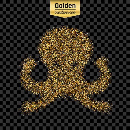 feeler: Gold glitter vector icon of octopus isolated on background. Art creative concept illustration for web, glow light confetti, bright sequins, sparkle tinsel, abstract bling, shimmer dust, foil. Illustration