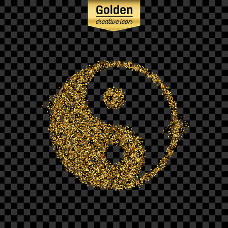 taoism: Gold glitter vector icon of Yin Yang isolated on background. Art creative concept illustration for web, glow light confetti, bright sequins, sparkle tinsel, abstract bling, shimmer dust, foil.