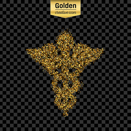 staff of aesculapius: Gold glitter vector icon of caduceus isolated on background. Art creative concept illustration for web, glow light confetti, bright sequins, sparkle tinsel, abstract bling, shimmer dust, foil. Illustration
