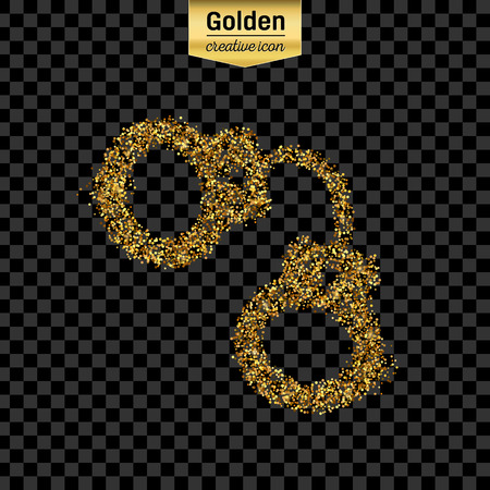 culprit: Gold glitter vector icon of handcuffs isolated on background. Art creative concept illustration for web, glow light confetti, bright sequins, sparkle tinsel, abstract bling, shimmer dust, foil.