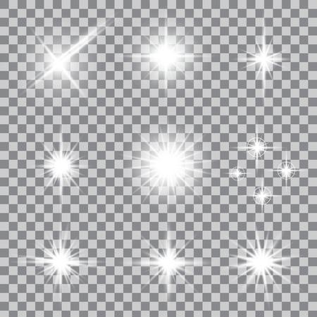グロー光効果の創造的な概念ベクトルを設定は、輝きと背景に分離したバーストを星します。イラスト テンプレート アート デザインのクリスマス