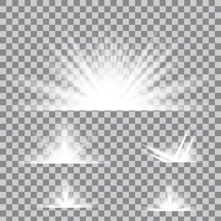 Creative ensemble d'effets étoiles de lumière luminescente concept Vector éclate avec des étincelles isolé sur fond. Pour la conception de l'art illustration modèle, bannière pour célébrer Noël, la magie rayon d'énergie de flash.
