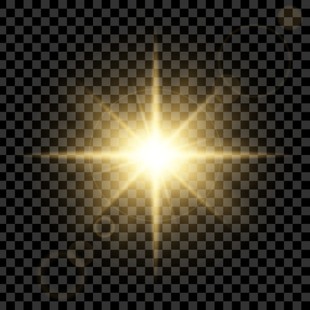sun flare: Creative concept Vector set of glow light effect stars bursts with sparkles isolated on black background. For illustration template art design, banner for Christmas celebrate, magic flash energy ray.