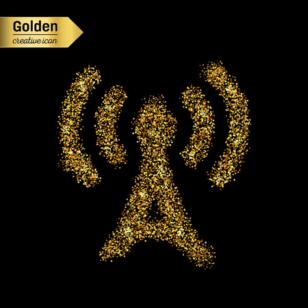 tv tower: Gold glitter vector icon of TV tower isolated on background. Art creative concept illustration for web, glow light confetti, bright sequins, sparkle tinsel, abstract bling, shimmer dust, foil.
