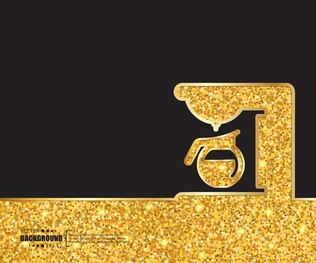 sign maker: Creative vector coffee maker. Art illustration template background. For presentation, layout, brochure, logo, page, print, banner, poster, cover, booklet, business infographic, wallpaper, sign, flyer. Illustration