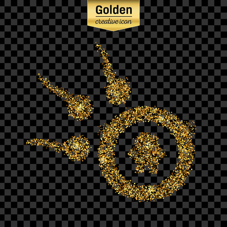 ovule: Gold glitter vector icon of spermatozoons, floating to ovule isolated on background. Art creative concept illustration for web, glow light confetti, bright sequins, sparkle tinsel, shimmer dust, foil. Illustration