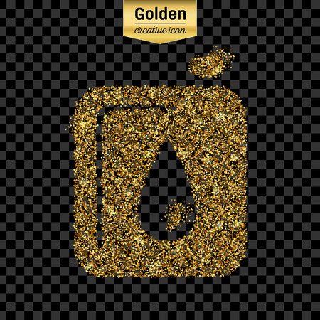 canister: Gold glitter vector icon of canister isolated on background.