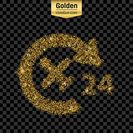 twenty four hour: Gold glitter vector icon of airplane isolated on background.
