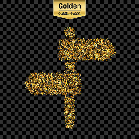 plaque: Gold glitter vector icon of plaque isolated on background.