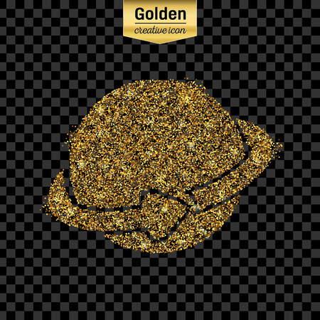 gold earth: Gold glitter vector icon of planet earth isolated on background.