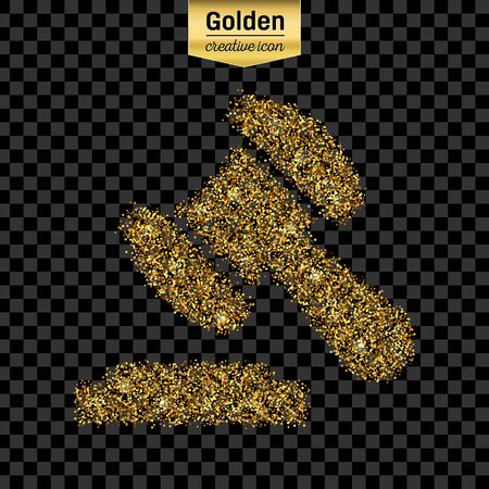 judgments: Gold glitter vector icon of gavel isolated on background.