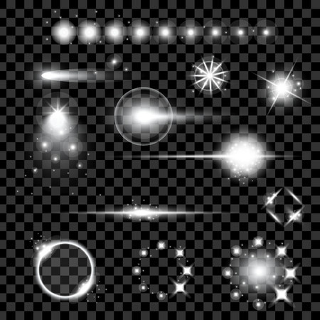 starlet: Creative concept Vector set of glow light effect stars bursts with sparkles isolated on black background.