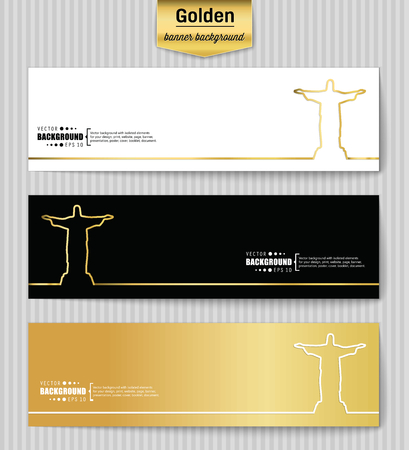 corcovado: Abstract Creative concept gold vector background for Web and Mobile Applications, Illustration template design, business infographic, page, brochure, banner, presentation, poster, booklet, document. Illustration
