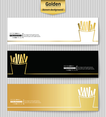 frites: Abstract Creative concept gold vector background for Web and Mobile Applications, Illustration template design, business infographic, page, brochure, banner, presentation, poster, booklet, document. Illustration