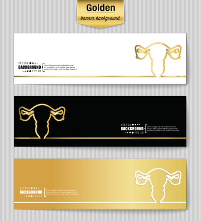 endometrium: Abstract Creative concept gold vector background for Web and Mobile Applications, Illustration template design, business infographic, page, brochure, banner, presentation, poster, booklet, document. Illustration