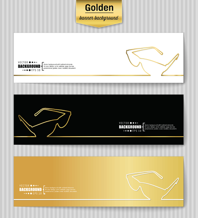 eyewear fashion: Abstract Creative concept gold vector background for Web and Mobile Applications, Illustration template design, business infographic, page, brochure, banner, presentation, poster, booklet, document. Illustration